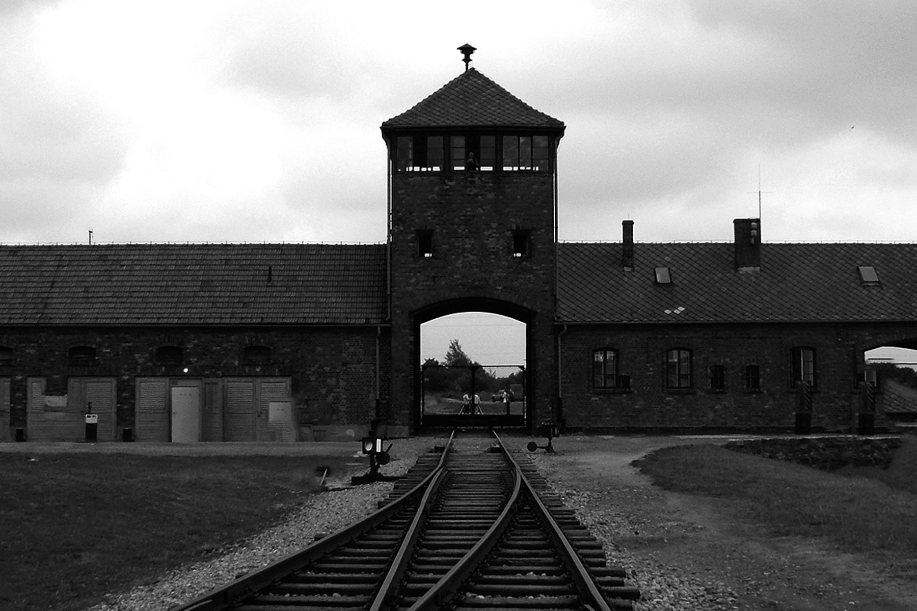 Auschwitz Birkenau – entrance seen from inside